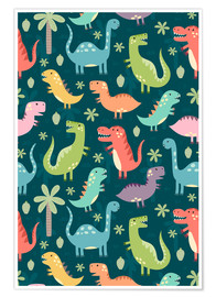 Poster  Dinosaures colorés - Kidz Collection