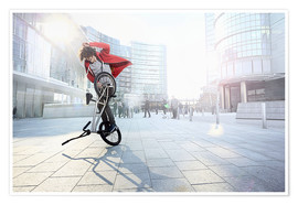 Poster BMX Biker doing stunt in urban area