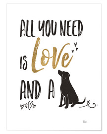 Poster  All you need is love and a dog (anglais) - Veronique Charron