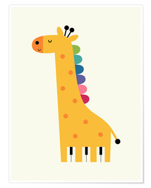 Poster  Girafe piano - Andy Westface