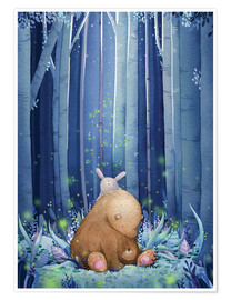 Poster  Vers luisants, ours et lapin - Rebecca Richards